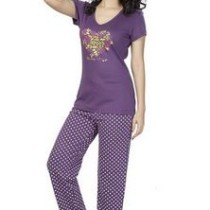Clifton Women's Floral Heart Pyjama Set - Purple Polka