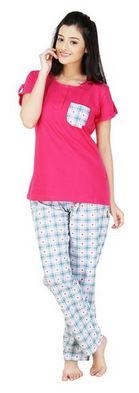Nite Flite Hearts & Checks Cotton Pyjama Set For Women