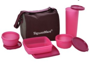 Signoraware Best Lunch Jumbo with Bag - 500 ml, 350 ml, 200 ml Plastic Food Container