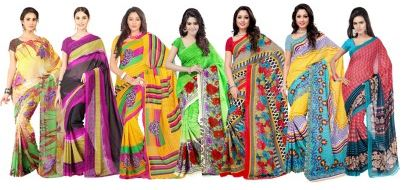 Ambaji Floral Print Daily Wear Georgette Sari(Pack of 7)