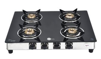 SnapDeal : Black Pearl Plasma Four Burner Toughened Glass Gas Stove
