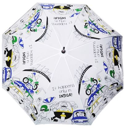 Cheeky Chunk It Happens Only in India Umbrella (White, Multicolor) Price: Rs. 550