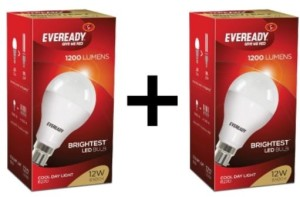 Eveready 12 W LED 1 -1 Bulb (White, Pack of 2) Price - Rs. 699