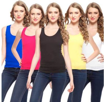 Exhort Fashion Solid Women's Round Neck T-Shirt (Pack of 5) Price: Rs. 499