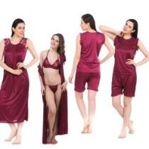 Fasense Women's Nighty(1 Nighty, 1 Robe, 1 Top, 1 Shorts, 1 Bra, 1 Thong)