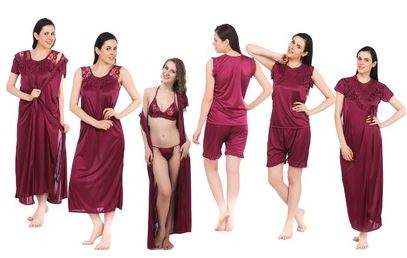 Fasense Women's Nighty (1 Nighty, 1 Robe, 1 Top, 1 Shorts, 1 Bra, 1 Thong) Price: Rs. 999