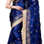 PayTM : Four Seasons Blue Satin And Chiffon Saree
