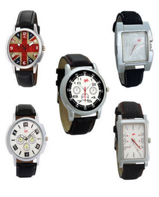 Gledati Black Analog Watch Set Of 5