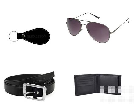 Gledati Black Combo Of Belt Wallet and Sunglass