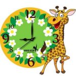 Buy From Amazon : Hoopoe Decor Baby Giraffe with Flowers Trendy Kids Wall Clock