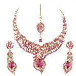 I Jewels Stone Alloy Jewel Set (Pink) Price: Rs. 849
