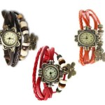 IIK Vintage pack of 3 Bracelet Vizor Analog Watch – For Women