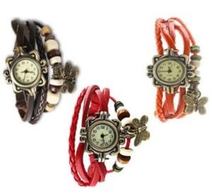 IIK Vintage pack of 3 Bracelet Vizor Analog Watch - For Women