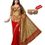 PayTM : Janasya Red Brasso Saree with Free Golden Kada