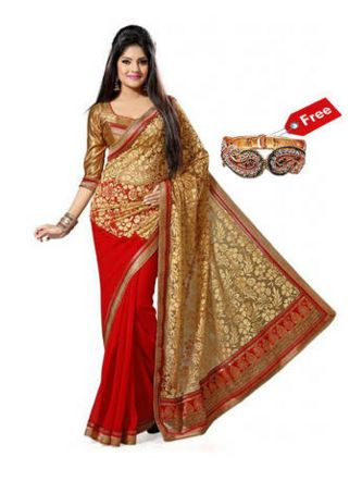 Janasya Red Brasso Saree with Free Golden Kada