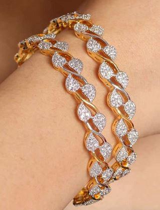 Jwells & More Dazzling American Diamond Bangle Pair