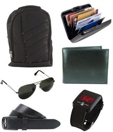 Buy Amazon.in Offer Keepsake combo of Black Bag , Wallet , Belt , Aviator Sunglasses , Cardholder @ Rs 1099