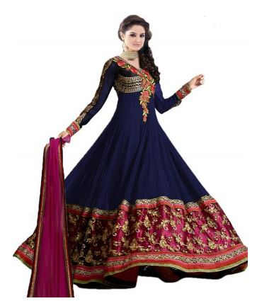 Livaaz Georgette Embroidered Semi-stitched Salwar Anarkali Suit Dupatta Material  (Unstitched) Price: Rs. 599