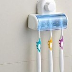 Premium 5 Toothbrush Wall Mount Toothbrush Holder W/ Suction Cup