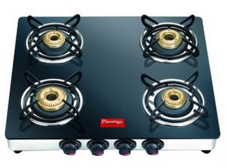 SnapDeal : Prestige Marvel GTM 04 SS 4 Burner Glass Top Gas Stove