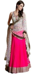 Sanjwega Collection Pink Faux Georgette Embroidered Semi Stitched Lahengas For Women