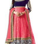 SnapDeal : Shubh Creation Pink Embroidered Net Anarkali Designer Dress Material