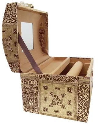 Siona Crafts Golden Wooden Designer Jewellery Vanity Box (Golden)