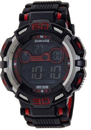 Sonata Ocean Series II Digital Black Dial Men's Watch
