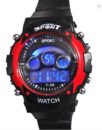 SnapDeal : Sport Black And Red Digital Kids Watch