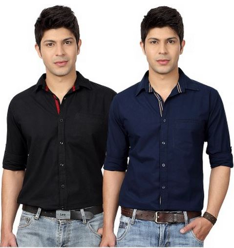 Buy Flipkart Offers Top Notch Men's Solid Casual Shirt (Pack of 2) Price: Rs. 799