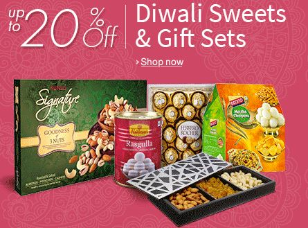Upto 20 off on sweets and Namkeen Gift hampers
