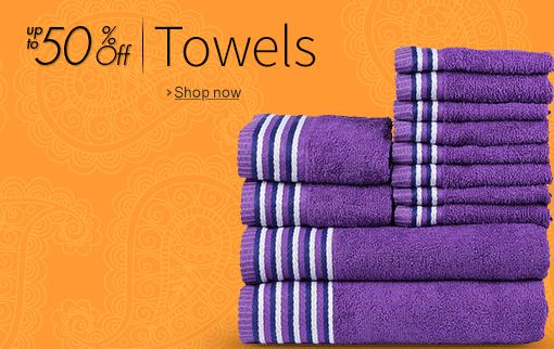Buy Amazon india offering Upto 50% discount on the Towels online