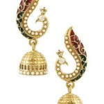 Amazon Offer : Voylla Peacock Inspired Pair Of Jhumka Earrings With Green Enamel @ Rs 189