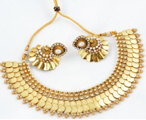 Alankruthi Copper Jewel Set (White, Gold) Price: Rs. 2,499