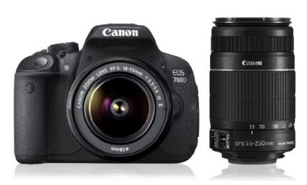Amazon Canon EOS 700D 18MP Digital SLR Camera (Black) with 18-55mm and 55-250mm IS II Lens, 8GB card and Carry Bag