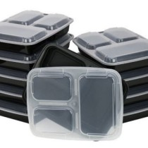 ChefLand 3-Compartment Microwave Safe Food Container with Lid Lunch Tray with Cover, Black, 10-Pack