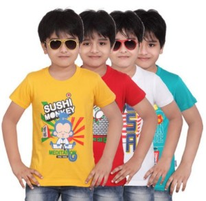 Dongli Printed Boy's Round Neck T-Shirt(Pack of 4)