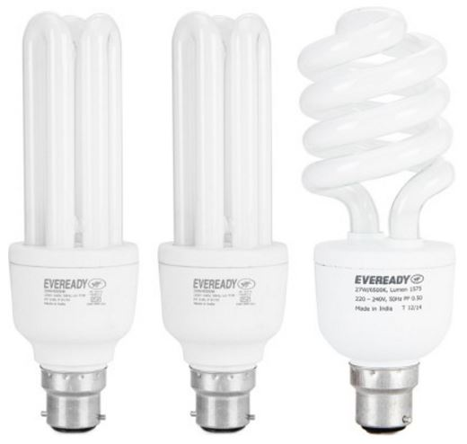 Eveready 15 W, 20 W, 27 W CFL BHK Combo with Free 4 AA Batteries Bulb(White, Pack of 3) @ Rs 540