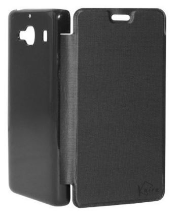 High Quality flip cover for Xiaomi Redmi 2 (Black) + Screen Guard (Front)