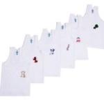 Kuchipoo Unisex 100% cotton cartoon print kids vest Brief for 1 – 2 Years – Pack of 6