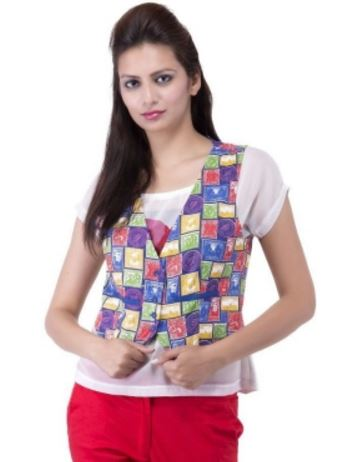 Lodha's Sleeveless Printed Women's Country Print Jacket @ Rs 399