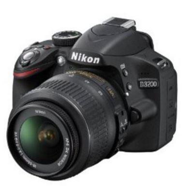 Amazon Nikon D3200 Digital SLR Camera (Black) with AF-S DX 18-55mm VR II and AF-S DX 55-200mm VR II , Double Zoom Kit with 8GB Card, Camera Bag