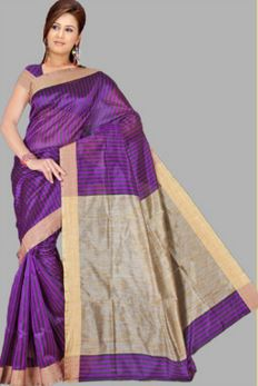 Pavechas Striped Banarasi Cotton Saree