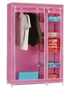 Pindia Metal Free Standing Wardrobe(Finish Color - Pink)