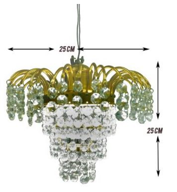 Prop It Up Antique Design White Crystal Chandelier (25cmX25cmX25cm, Small, Muted Glow)