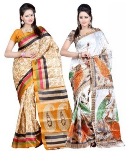 S.B Textiles Printed Fashion Art Silk Sari (Pack of 2) Price: Rs. 529