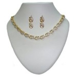 Sempre of London Crystal Diamonds with Gold & Rhodium Plated Cynthia Necklace Set for Women