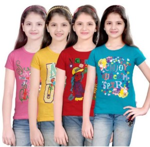 Sinimini Casual Short Sleeve Printed Girl's Top