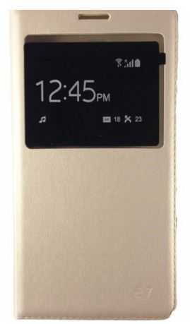 Sun Mobisys Call iD Flip Cover for Samsung Galaxy E7 Champagne Gold