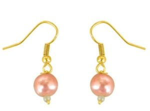 Surat Diamond Pink Dots Yellow Gold Plated Pearl Metal Dangle Earring